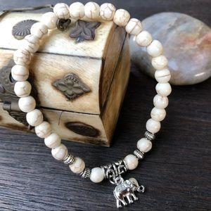 Jewelry - 🆕🆕🆕✨WHITE TURQUOISE BRACELET W/ELEPHANT 6mm✨